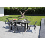 1 ensemble table Eos et 6 chaises graphite Eos